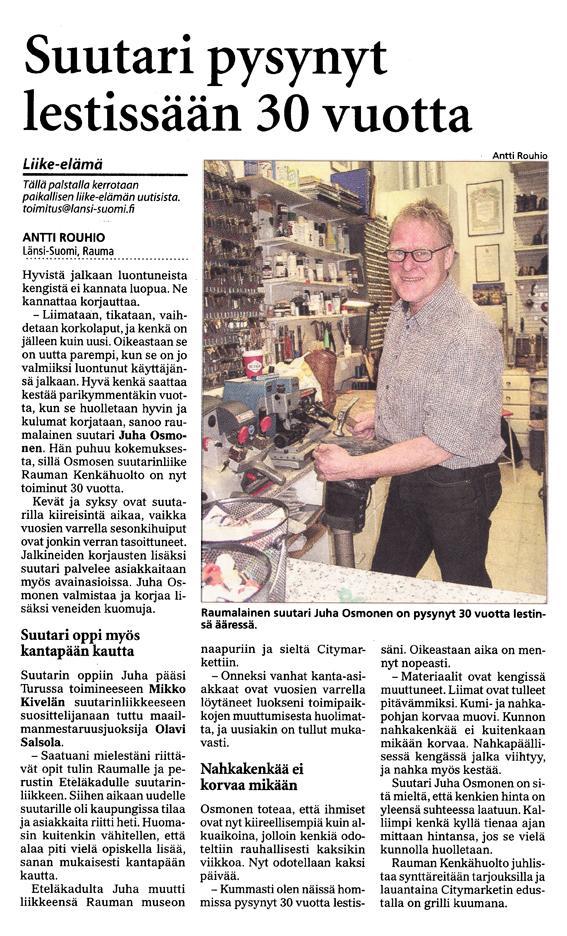 Rauman Kenkähuolto 30 vuotta Länsi-Suomessa.